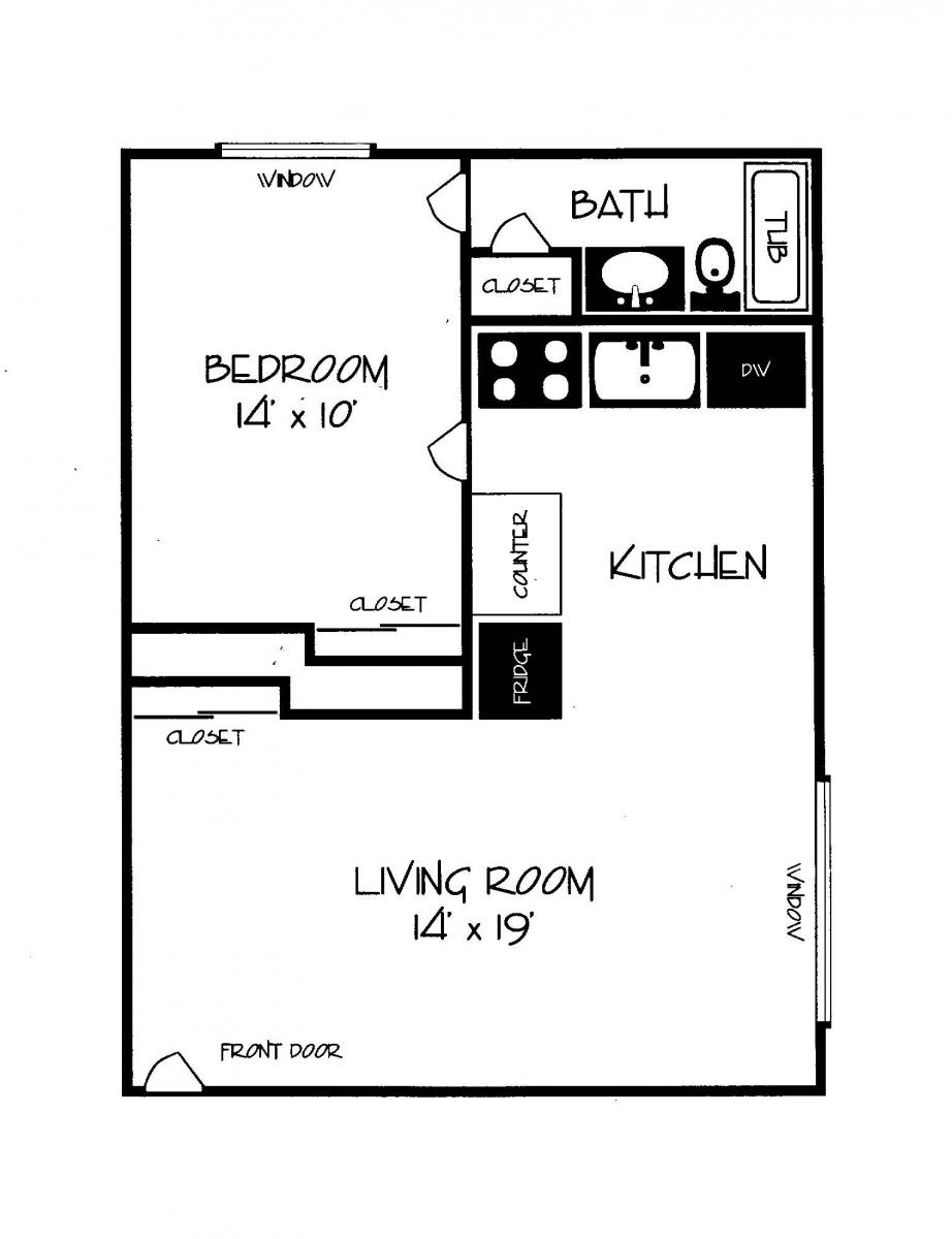 Woodhill Apartments 1 Bedroom Layout  Woodhill Apartments CB Management. Rental 1 Bedroom Apartment